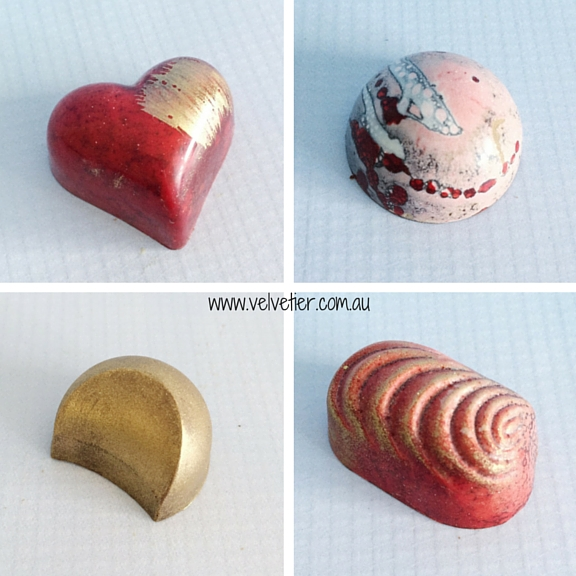 Red gold and pink Velvetier custom chocolates Brisbane