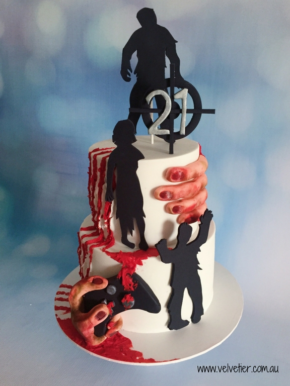 Zombie gamer cake by Velvetier Brisbane Cake