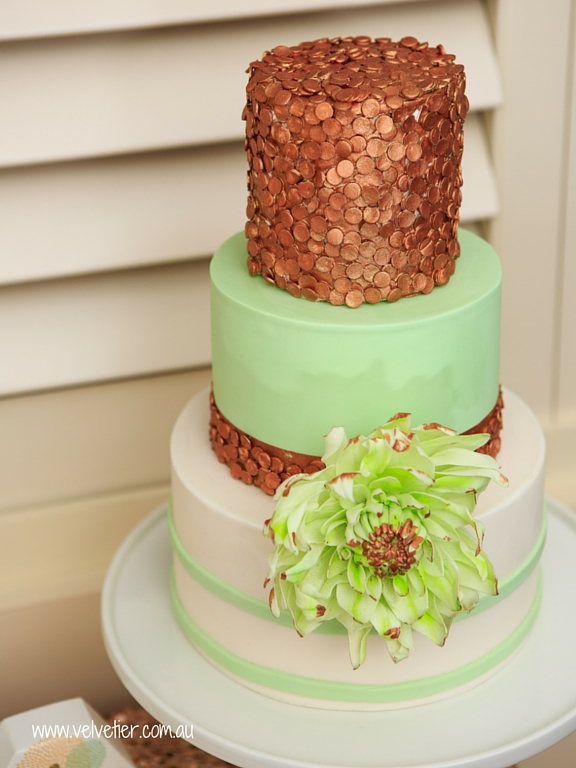 Mint and rose gold sequin cake with sugar dahlia Velvetier Brisbane