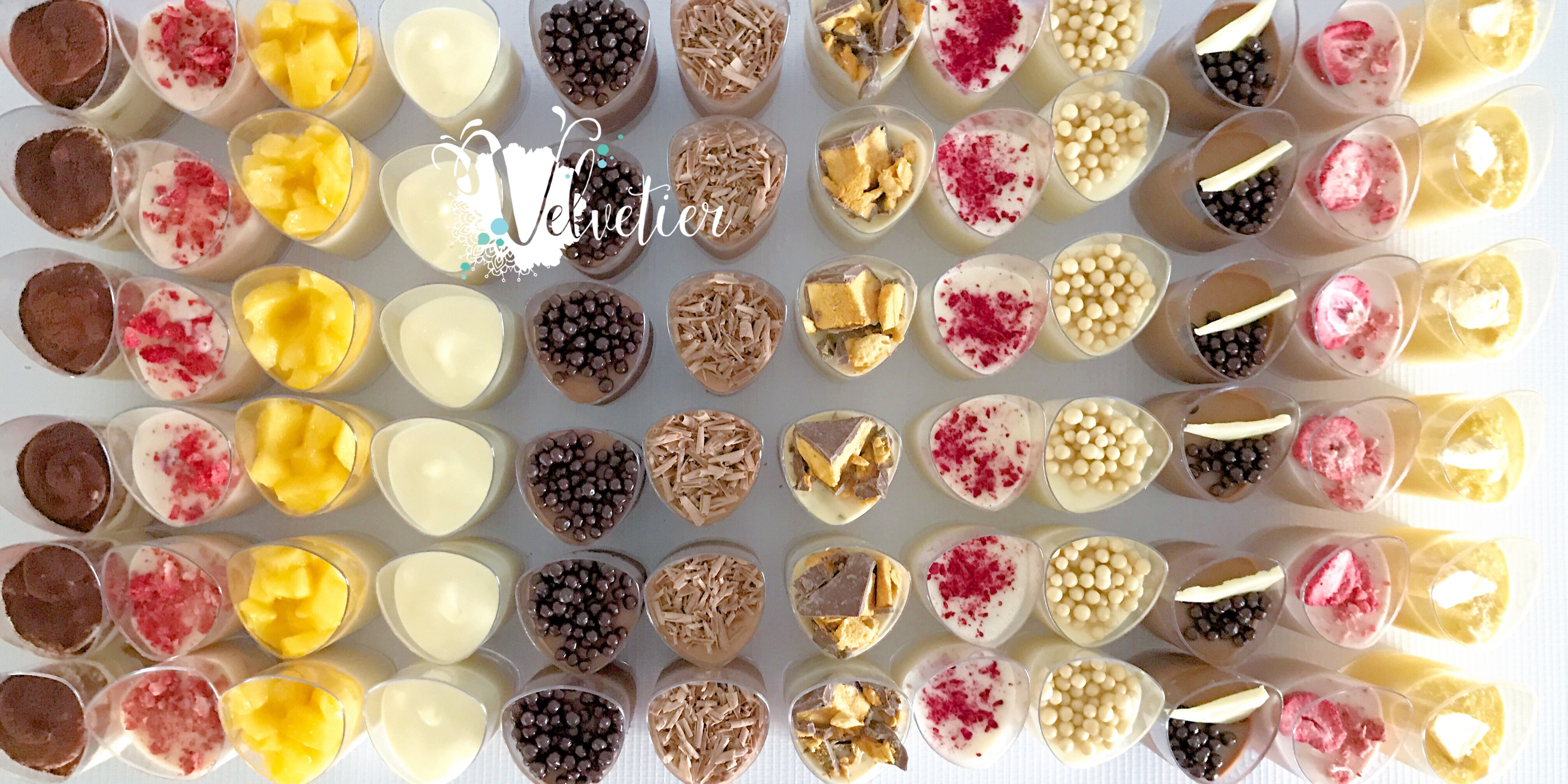 Multiple verrines  by velvetier brisbane dessert shot dessert cups