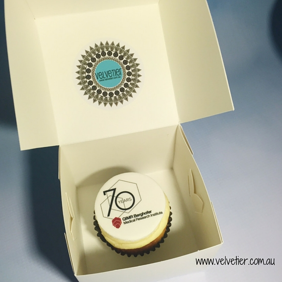 Logo cupcakes individually packaged Velvetier Brisbane corporate gifts