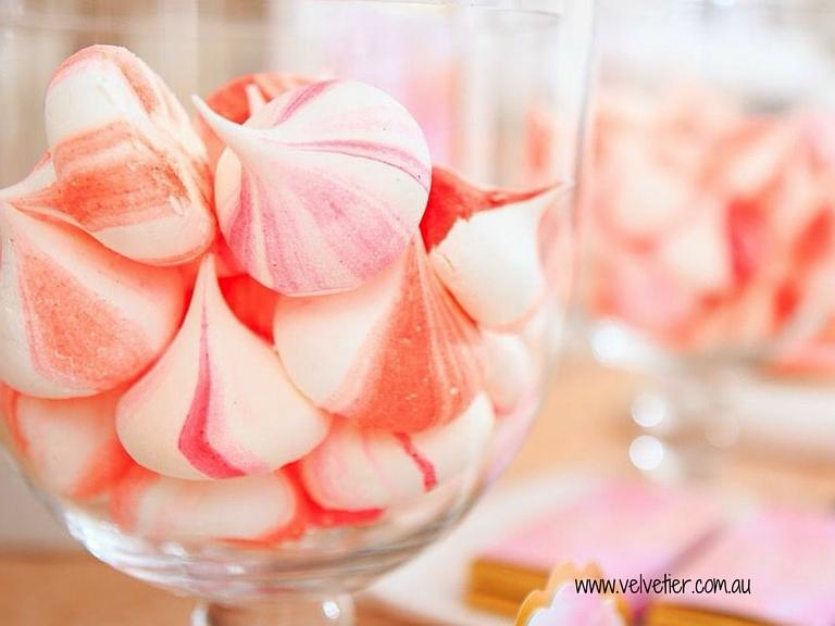 Pink and peach meringues Velvetier Brisbane