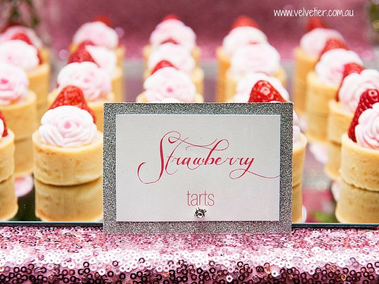 Strawberry Tarts With Fondant Rose Garnish By Velvetier Brisbane Desserts