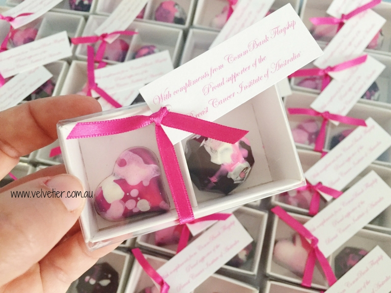 Shades Of Pink 2 Box Chocolate Bomboniere By Vevletier Brisbane Chocolatier Wedding Favours
