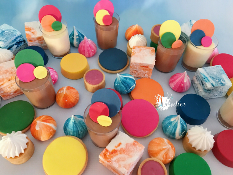 Bright confetti themed desserts by velvetier Brisbane