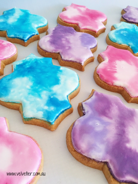 Moroccan tile cookie in watercolour by Velvetier Brisbane cookies