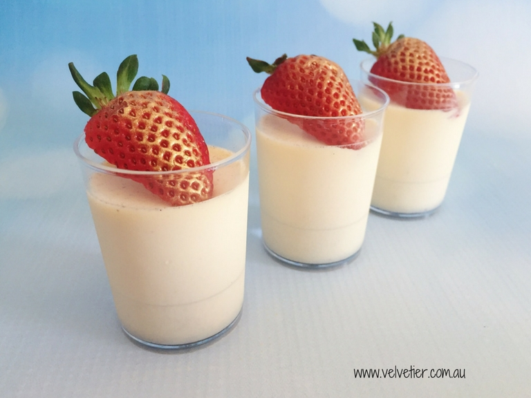 Gold dusted strawberry topped panna cotta by Velvetier Brisbane Desserts