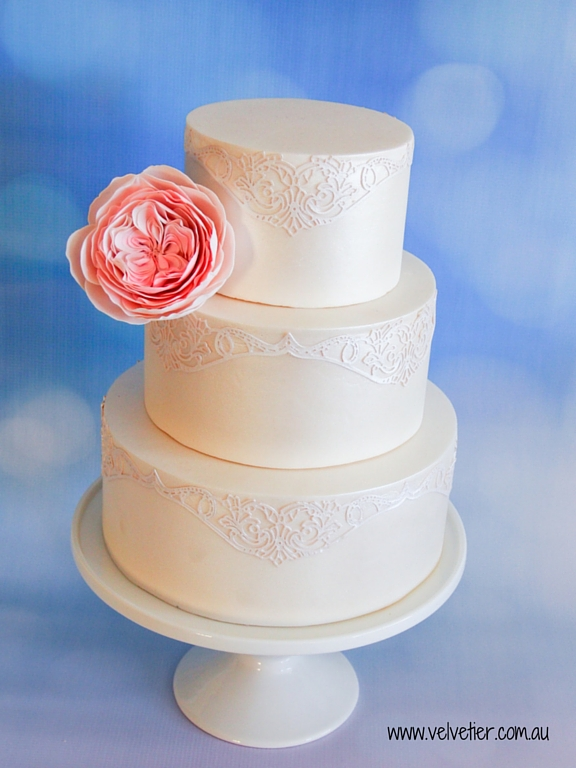 White shimmer cake with lace overlay Velvetier Brisbane