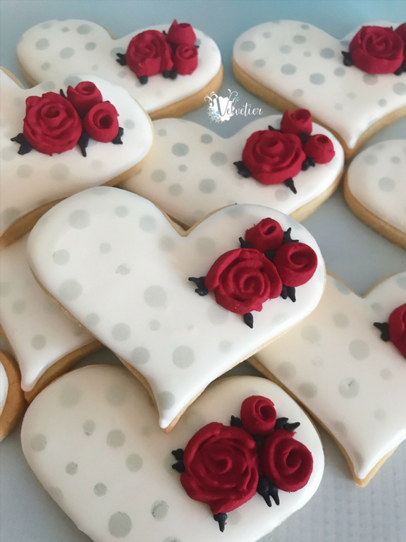 red and silver heart and rose engagement cookies by velvetier brisbane