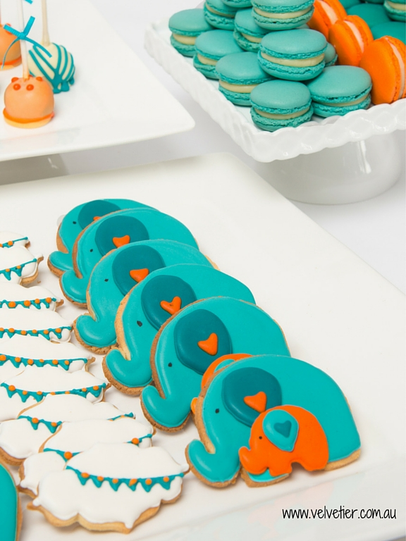 Elephant and bunting cookies Velvetier custom cookies Brisbane