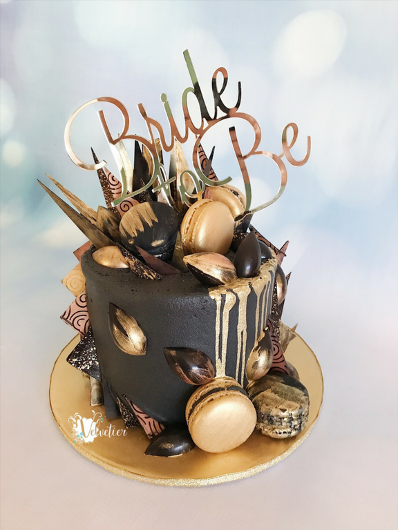 Black and gold bride to be bridal shower drip and shard cake by velvetier brisbane