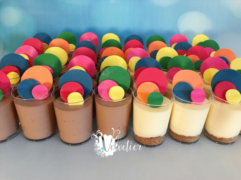 Confetti decorated chocolate mousse and cheesecake verrines dessert shots by velvetier brisbane