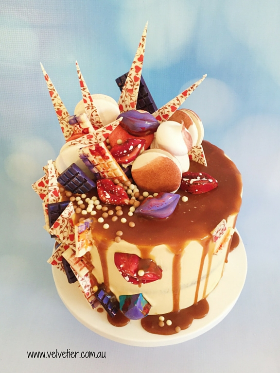 Purple red and white caramel drip cake Velvetier Brisbane