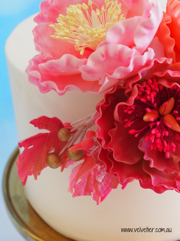 Sugar peoney flowers on cake Velvetier Brisbane