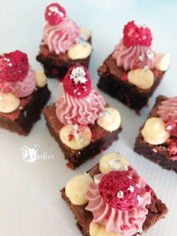 Raspberry and vanilla loaded brownie by velvetier brisbane 1