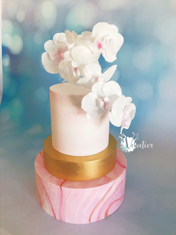 Pink marble and gold cake with wafer paper orchids cake by Velvetier Brisbane