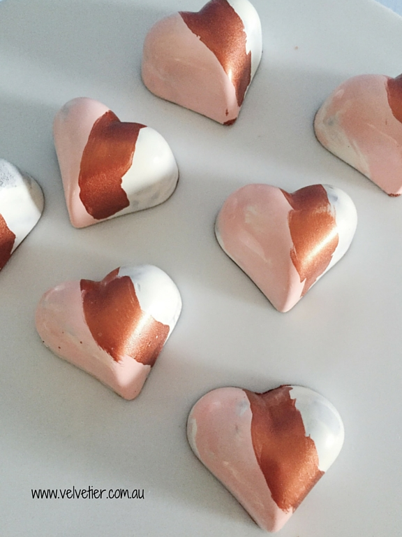 Peach copper and white heart chocolates by Velvetier brisbane chocolates