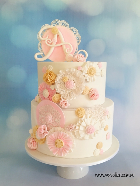 Ruffle and lace vintage pink and gold cake Velvetier Brisbane with letter topper