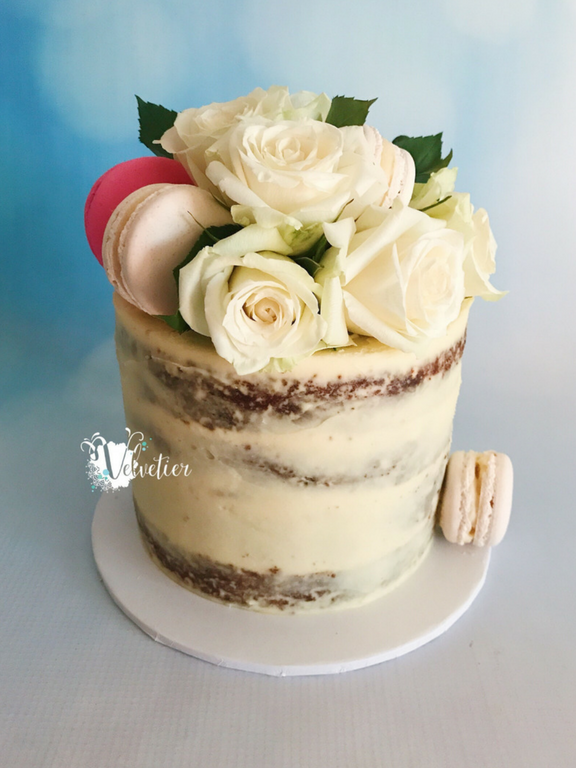 Rose and macaron semi naked cake by velvetier brisbane