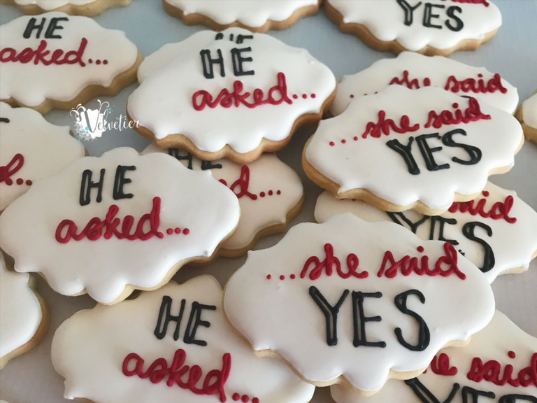 He asked she said yes engagement cookies by velvetier brisbane