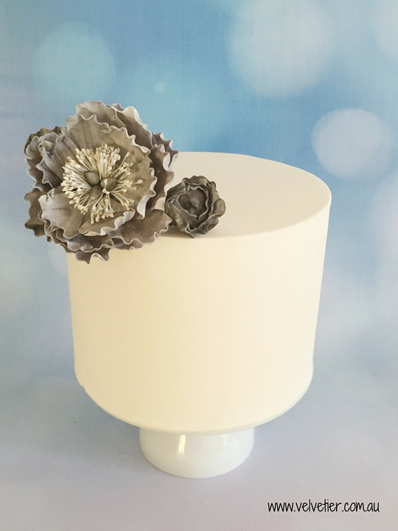 Extended tier cake with marble sugar flower Velvetier Brisbane