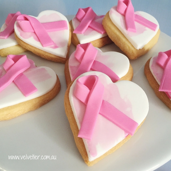 Pink ribbon heart cookies Velvetier custom cookies Brisbane