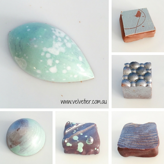 Mint white and silver Velvetier custom chocolates Brisbane