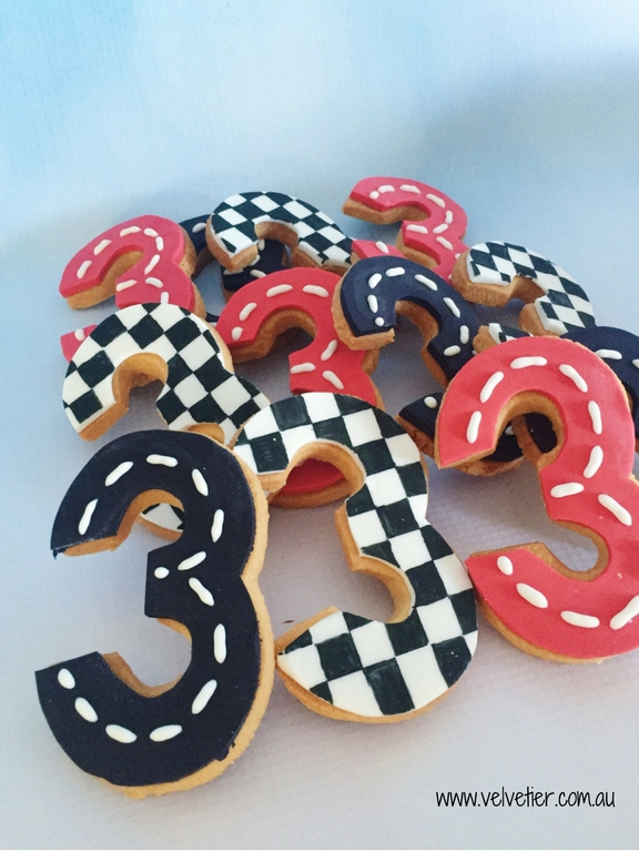 Racing Car Themed Number Three Cookies By Velvetier Brisbane Cookie Biscuit