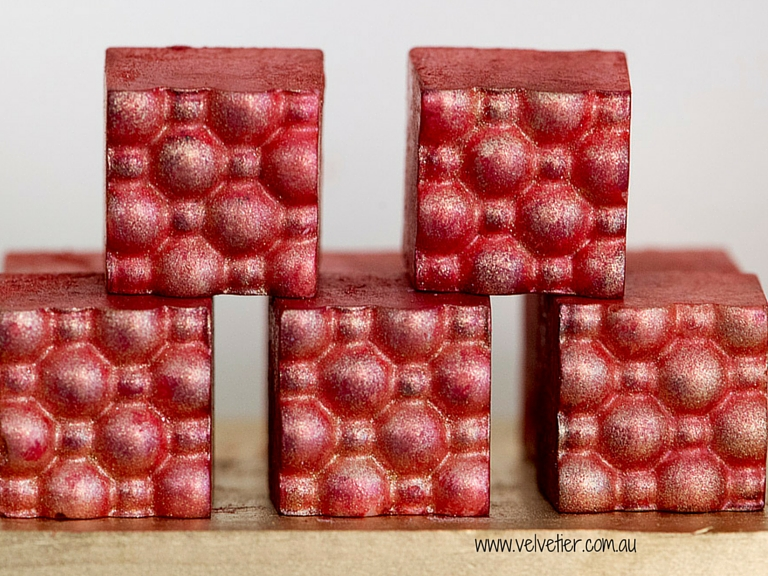 Red shimmer bubble custom chocolates Velvetier Brisbane