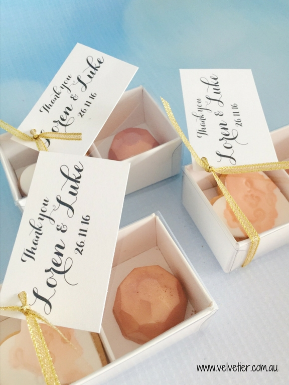 Cookie and chocolate bomboniere wedding favour by Velvetier brisbane wedding