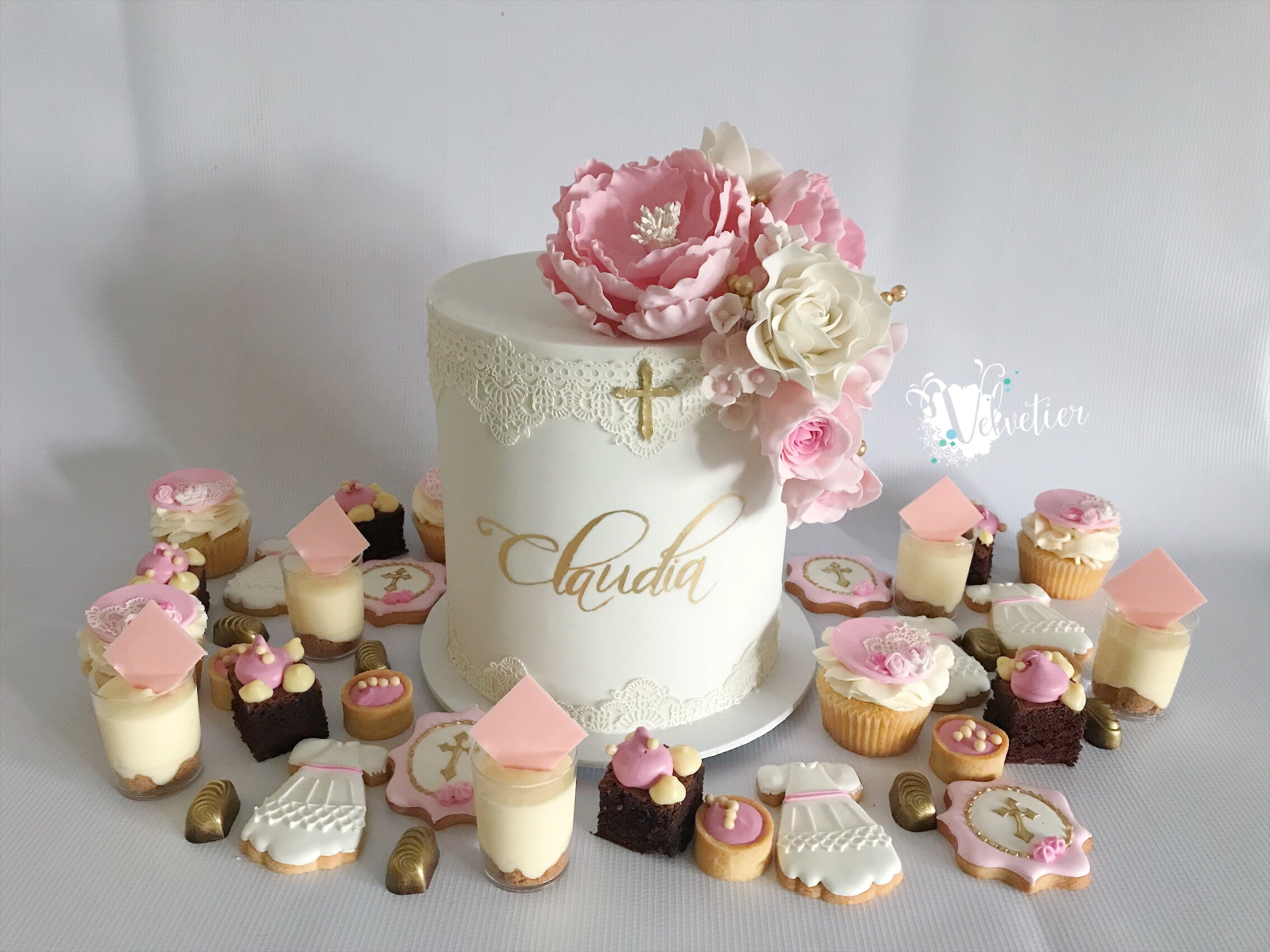 pink and gold baptism dessert buffet with cake by velvetier brisbane