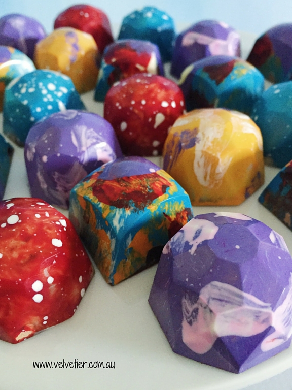 Bright gems and square chocolates by velvetier Brisbane Chocolate