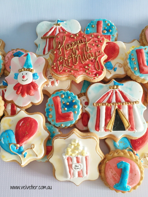 Circus theme cookie set Velvetier custom cookies Brisbane