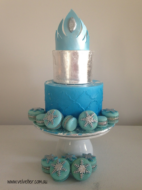 Blue and silver princess cake by Velvetier Brisbane