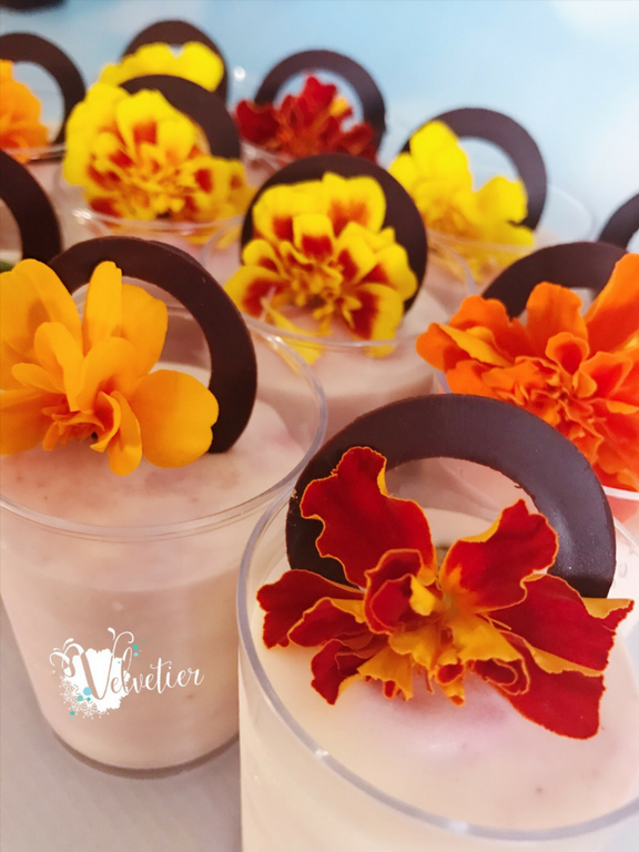 strawberry mousse verrines with edible flowers by velvetier brisbane dessert shot dessert cups