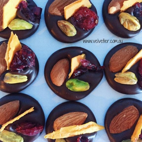 Almond Pistachio Cranberry And Mango Mendiants By Velvetier Brisbane Chocolatier