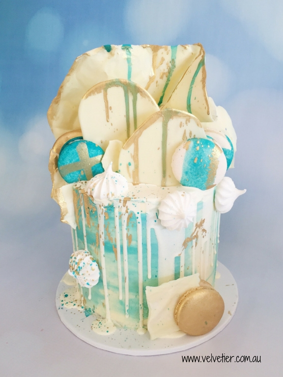 Blue Teal Watercolour Drip Cake By Velvetier Brisbane Cake