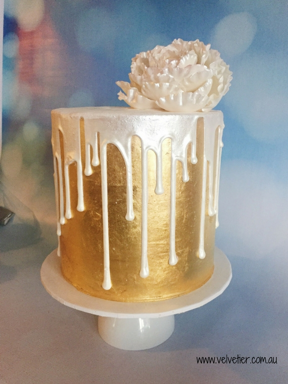 Gold Leaf Cake With White Shimmer Drip And Sugar Peony By Velvetier Brisbane Cake