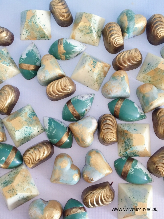 Eucalyptus white and gold chocolate range by Velvetier Brisbane Chocolatier