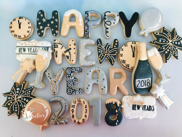 happy new year 2018 cookies gold silver and black by velvetier brisbane
