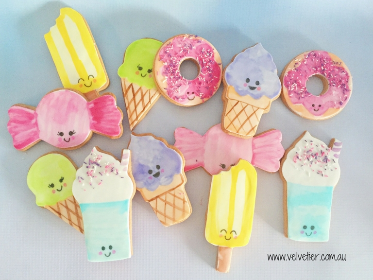 Kawaii dessert cookies by Velvetier Brisbane cookies