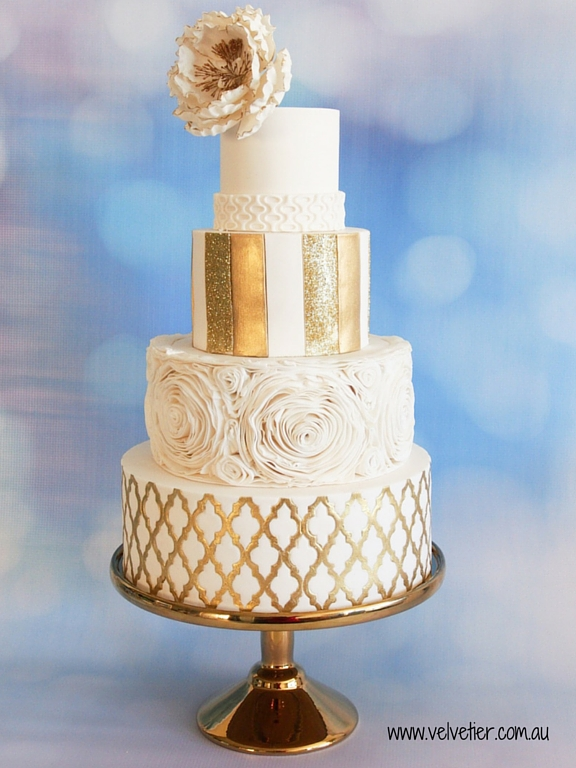 4 tier gold and white ruffle wedding cake Velvetier Brisbane