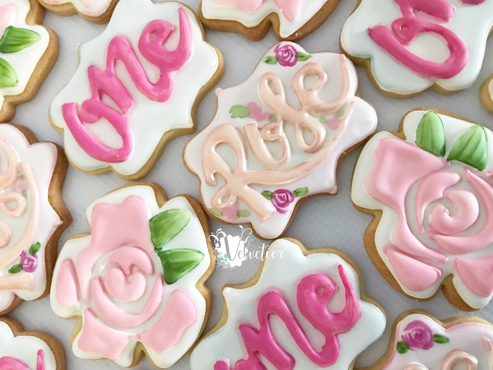 shades of pink rose first birthday cookies by velvetier brisbane 3
