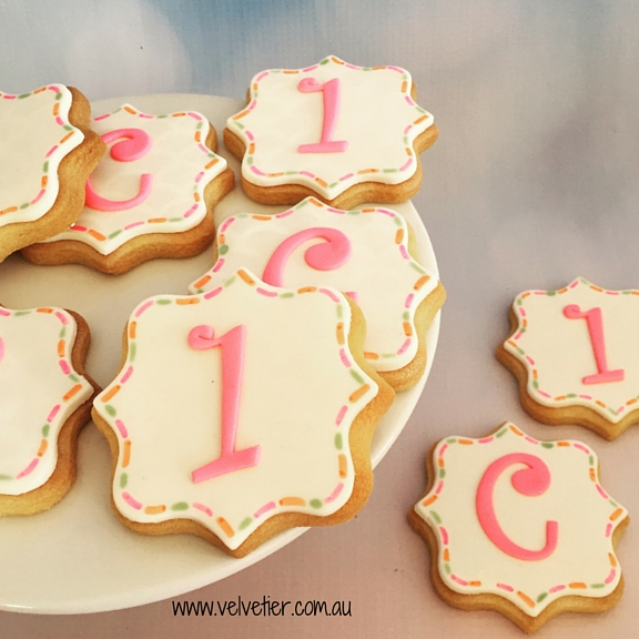 Number 1 and C quatrefoil cookies Velvetier custom cookies Brisbane