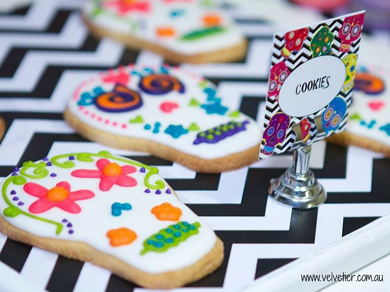 Day of the Dead cookies Velvetier custom cookies Brisbane