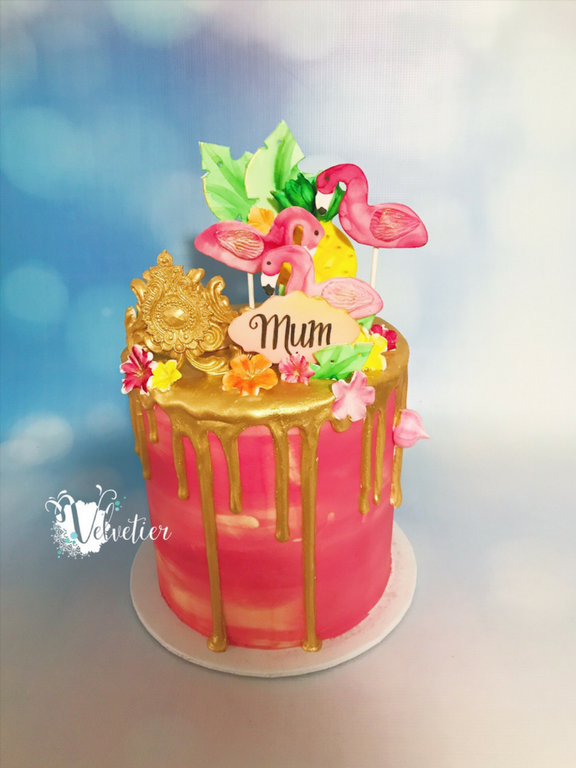 tropical flamingo birthday cake by velvetier brisbane