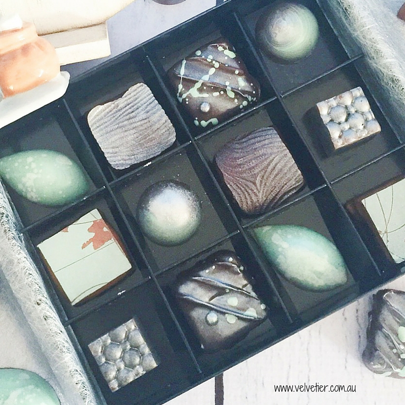 Mint and silver custom chocolate box Velvetier Brisbane