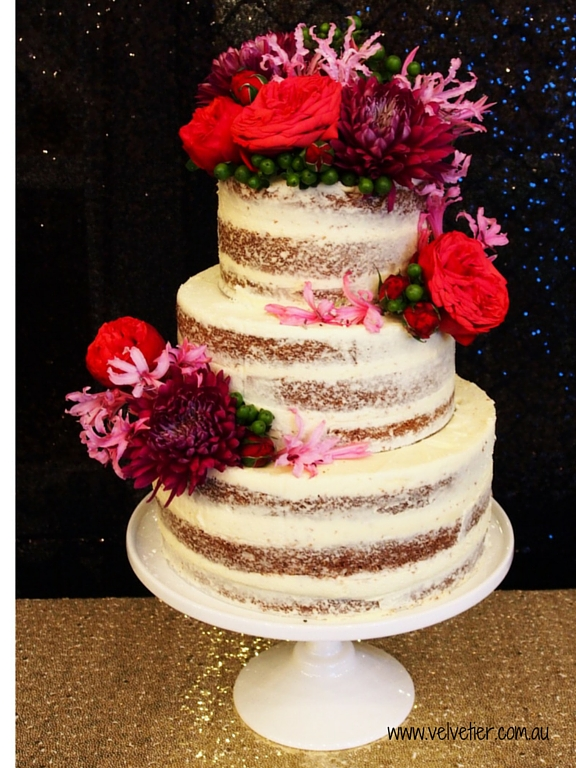 3 tier semi naked cake with fresh flowers Velvetier Brisbane