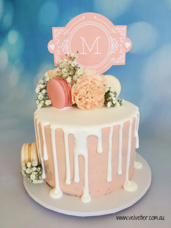 Peach buttercream christening drip cake with flowers and topper by Velvetier Brisbane Cake