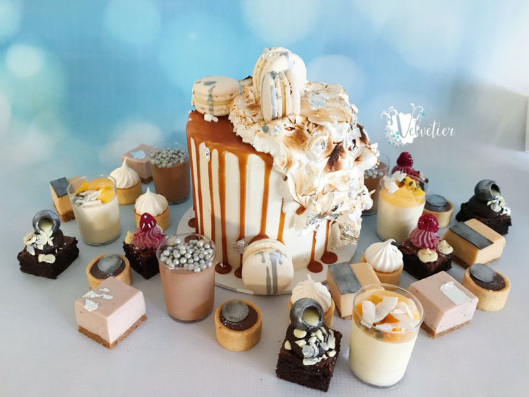 Mixed desserts and cutting wedding cake by velvetier brisbane